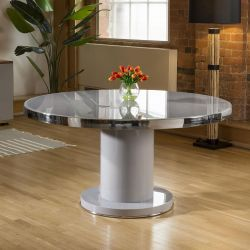 Round 1500mm Dining Table Grey Gloss Base Glass Top & Polished Steel