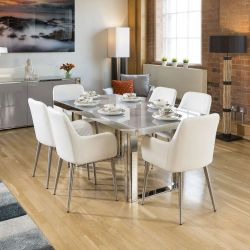 Quatropi Sophie Modern Grey Glass Dining Table +6x White Carver Chairs