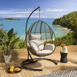 Luxury Extra Large Outdoor Hanging Pod Brown Basket Beige Cushion