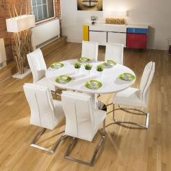 Dining Set White Gloss Round / Oval Extending Table + 6 Large Chairs