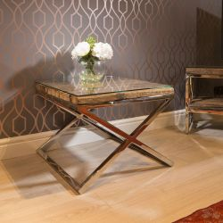 Square End Side Lamp Table Solid Reclaimed Hardwood 60x60cm Glass Top