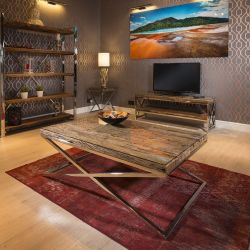 Luxury Rectangular Coffee Table Solid Reclaimed Wood 130x80c Glass Top