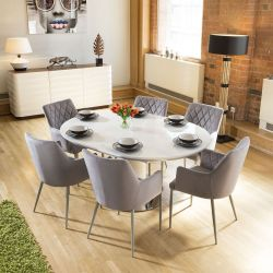 Extending Round Oval White Gloss Dning Table +6 Ice Grey Carver Chairs