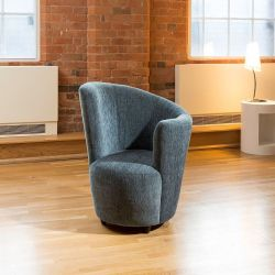 Modern Large Curved Blue Fabric Armchair/Tub Chair Left Hand Facing