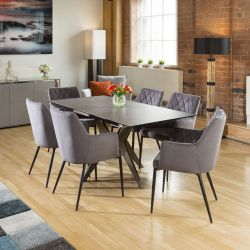 Extending Dining Table Charcaol Grey Ceramic + 6 x Grey Carver Chairs