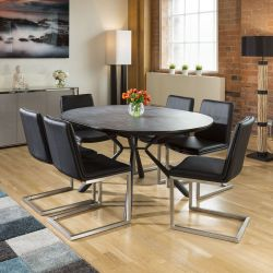 Round Slate Effect Melamine Dining Table Extends +6 Sleek Black Chairs