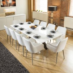 Quatropi White Dining Boardroom Table 2.4x1.1m +10 white carver chairs