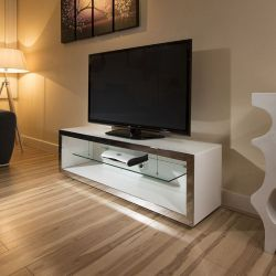 TV Stand Cabinet Unit Large 1.5mtr White Gloss Stainless Modern 182F