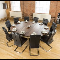 Large Oval 1.8 x 2.3m Brown Oak Dining Table + 10 Vintage Black Chairs