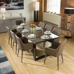 Neptune Solid Oak Glass Top Dining Table 2.2x1m +8 Brown Carver Chairs