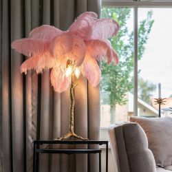 Quatropi Ostrich Feather Table Lamp PInk Gold 800mm High Living Room