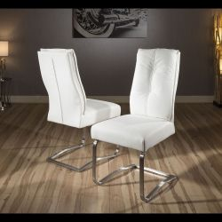 Set of 2 Large Padded Super Comfy Modern Dining Chairs White/stainless