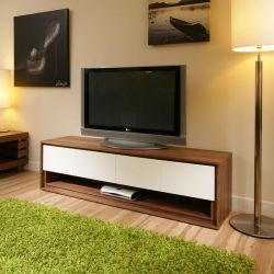 Large TV/Television Stand/Cabinet/Cabinets/Unit Walnut / Off-White 104