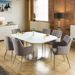 Stunning Dining Set White Glass Square Extending Table +6 IceGrey 1648