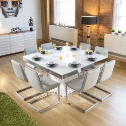 Large Square White Glass Gloss Dining Table + 8 Ice Cantilever Chairs