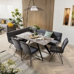 Ceramic Corner Dining Table Grey Bench Set With 3 Chairs Grey Marble Effect Right