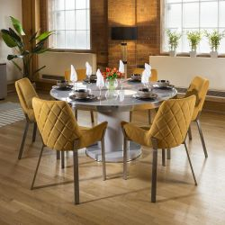 Unique Round Grey Dining Table Set 6 Mustard & Stainless Chairs