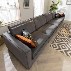 Large Grey 6 Seater Straight Sofa - XL Extra Deep 500x118cm In Stock