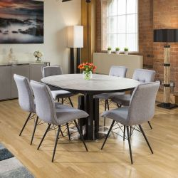 Round Extending Concrete Effect Dining Table + 6 x Grey Fabric Chairs