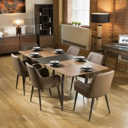 Extending Dining Set Walnut / Grey Table 6 Antique Brown Carver Chairs