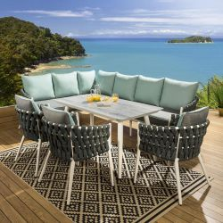 Outdoor Corner Bench Dining Set White Frame, Grey / Green 3 x Chairs