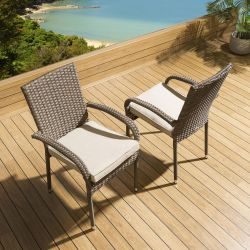 2 x Stackable Garden Armed Dining Chairs Brown Rattan Beige Cushions Crane