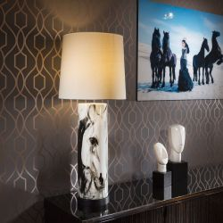 Large Table Lamp White Ceramic Stem Painted Horse Head Equestrian Wht