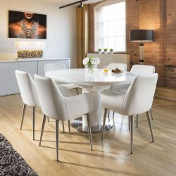Extending Round Oval Dining Set White Gloss Table 6 Carver Chairs