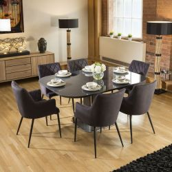 Dining Set Grey Glass Square Extending Table +6 Charcoal Carver Chair
