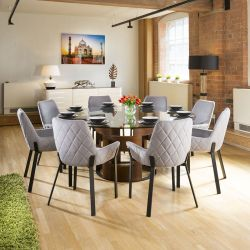 Large Round Glass Top Walnut Dining Table + 8 Light Grey Chairs