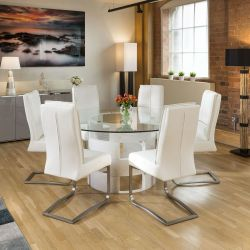 Round 1.6 Glass Top White Oak Dining Table 6 White Extra Padded Chairs