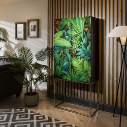 Quatropi Display Case 80cm Wide Green - Hand Painted With Tropical Pattern