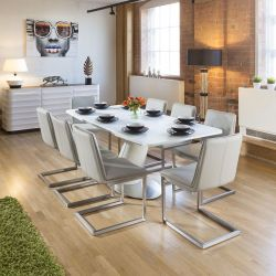 White Glass Top Extending Dining Table + 8 Ice Grey Cantilever Chairs