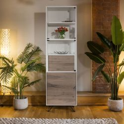 Luxury Slim Tall Cabinet / Sideboard White with Antique Oak Doors