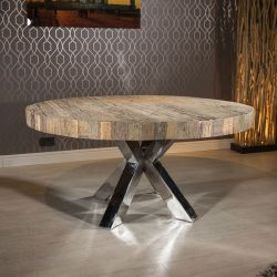 Round Recycled Hardwood Dining Table Polished Steel Leg +6 Grey Chairs