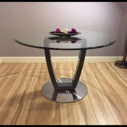 Modern 1.2m Round Clear Glass Dining Table Grey stem & steel Base 4396