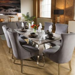 Ceramic 1800 Grey Dining Table Set + 6 Large Grey Chairs