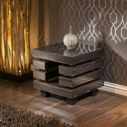 Beautiful End / Side / Lamp Table/Tables Square Black Lacquered Veneer