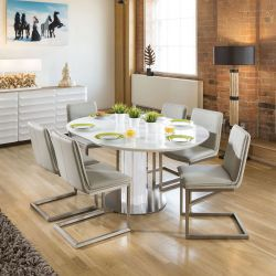 Modern Extending Dining Set Oval / Round Glass Wht Table 6 Grey Chairs