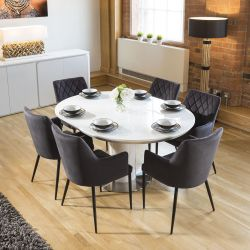 Extending Round Oval Dining Set White Gloss Table 6 Charcoal Carver Chairs