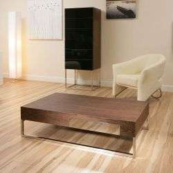Modern Elm Coffee Table With Stainless Steel Frame and Drawer 107A