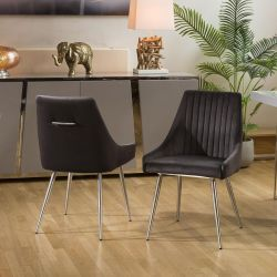 Pair of Charcoal Dining Chairs with Handle, Brushed Stainless Legs