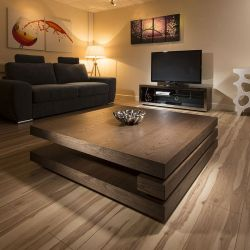 Extra Large Modern Square Dark Elm Brown Wood 1.2mt Coffee Table 397E