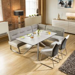 Luxury 7 seater Grey Booth Left Hand Corner L Bench Chair Dining Set 3