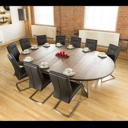 Large Oval 1.8 x 2.8m Brown Oak Dining Table + 10 Vintage Black Chairs
