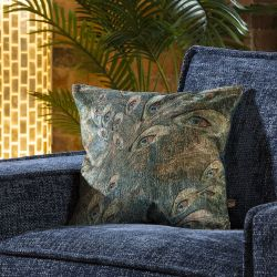 Velvet Peacock Feather Scatter Cushion Pillow 430 x 430mm Square Teal