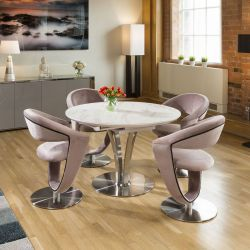 Round White Italian Ceramic Dining Table Extends +4 Velvet Pink Chairs