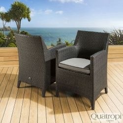 Pair of Luxury Garden Outdoor Dining Chair chairs Black Rattan / Grey