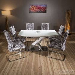 Modern White Glass top 1.6m Dining Table set + 6x silver velvet chairs