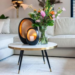 Quatropi White Round Faux Marble Coffee Table With Gold Steel Trim 800mm